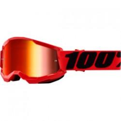 Oculos / Goggles 100% Strata 2 de CRIANÇA Vermelhos com lente espelhada