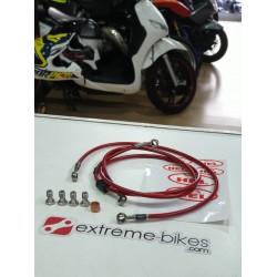Malha de aço HEL - Yamaha DTR 125 - Vermelho Transparente
